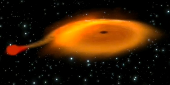 An artist's concept shows the small star (left) dumping gas onto the accretion disk around the black hole [ESA]