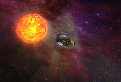 Artist's concept of Solar Probe Plus approaching the Sun