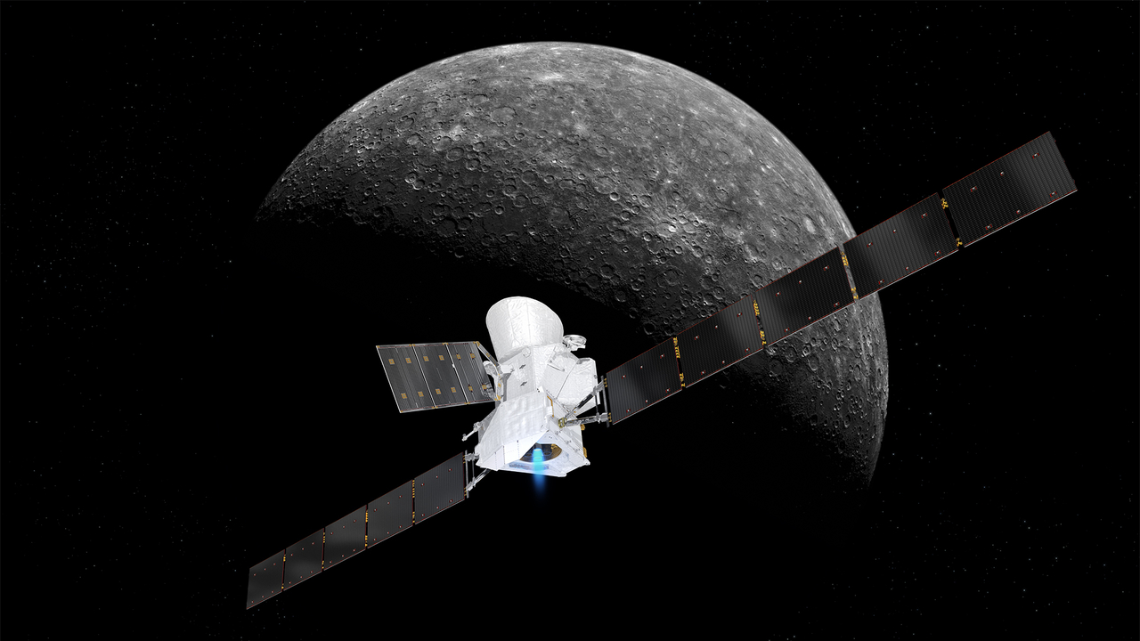 Artist's concept of BepiColombo arriving at Mercury in 2025
