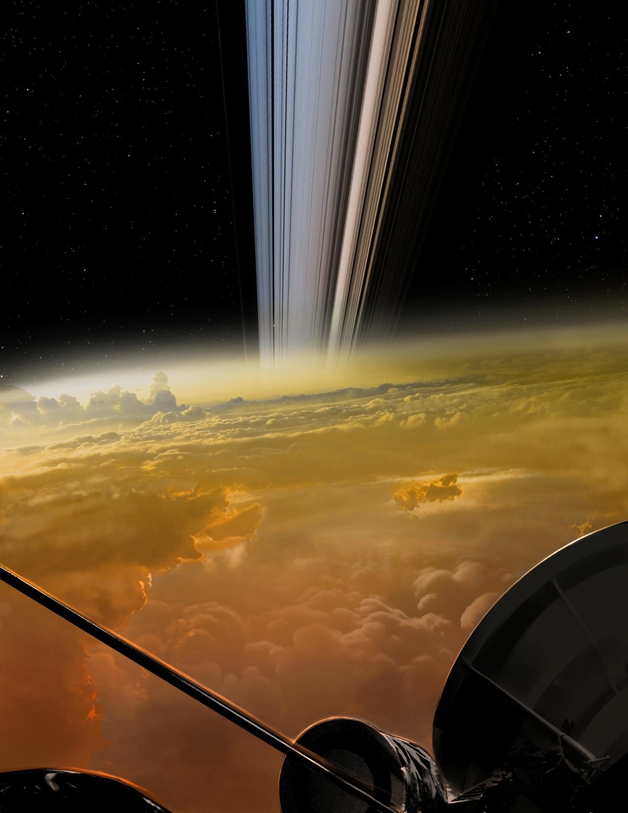 Artist's concept of Cassini crossing inside Saturn's rings