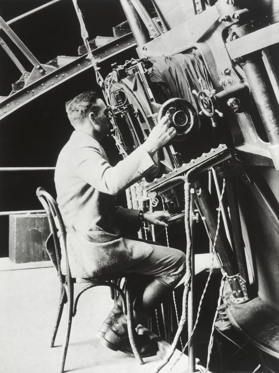 Edwin Hubble at the 100-inch Hooker Telescope