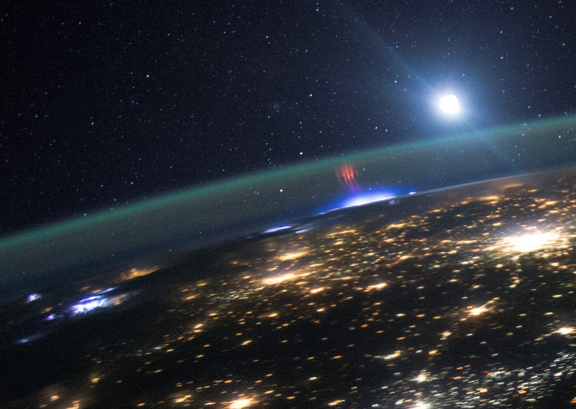 Lighting seen from the International Space Station