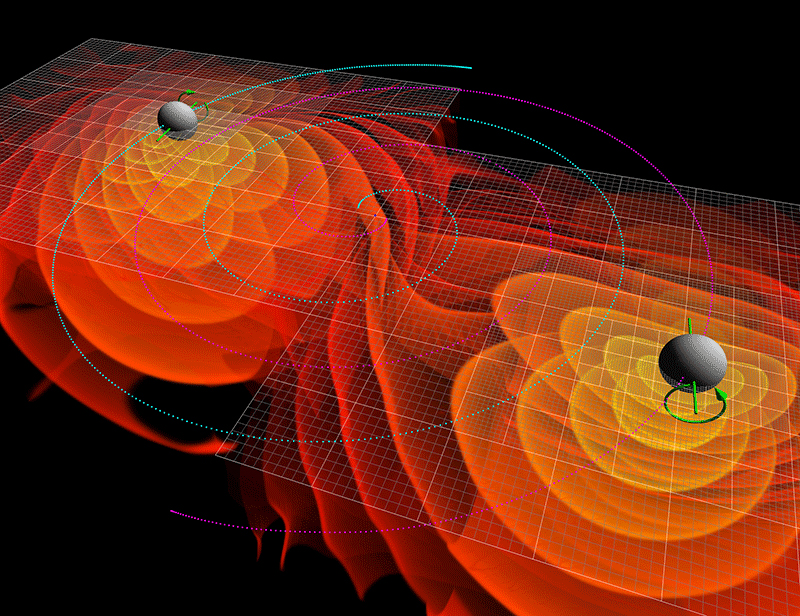 Computer simulation of merging black holes
