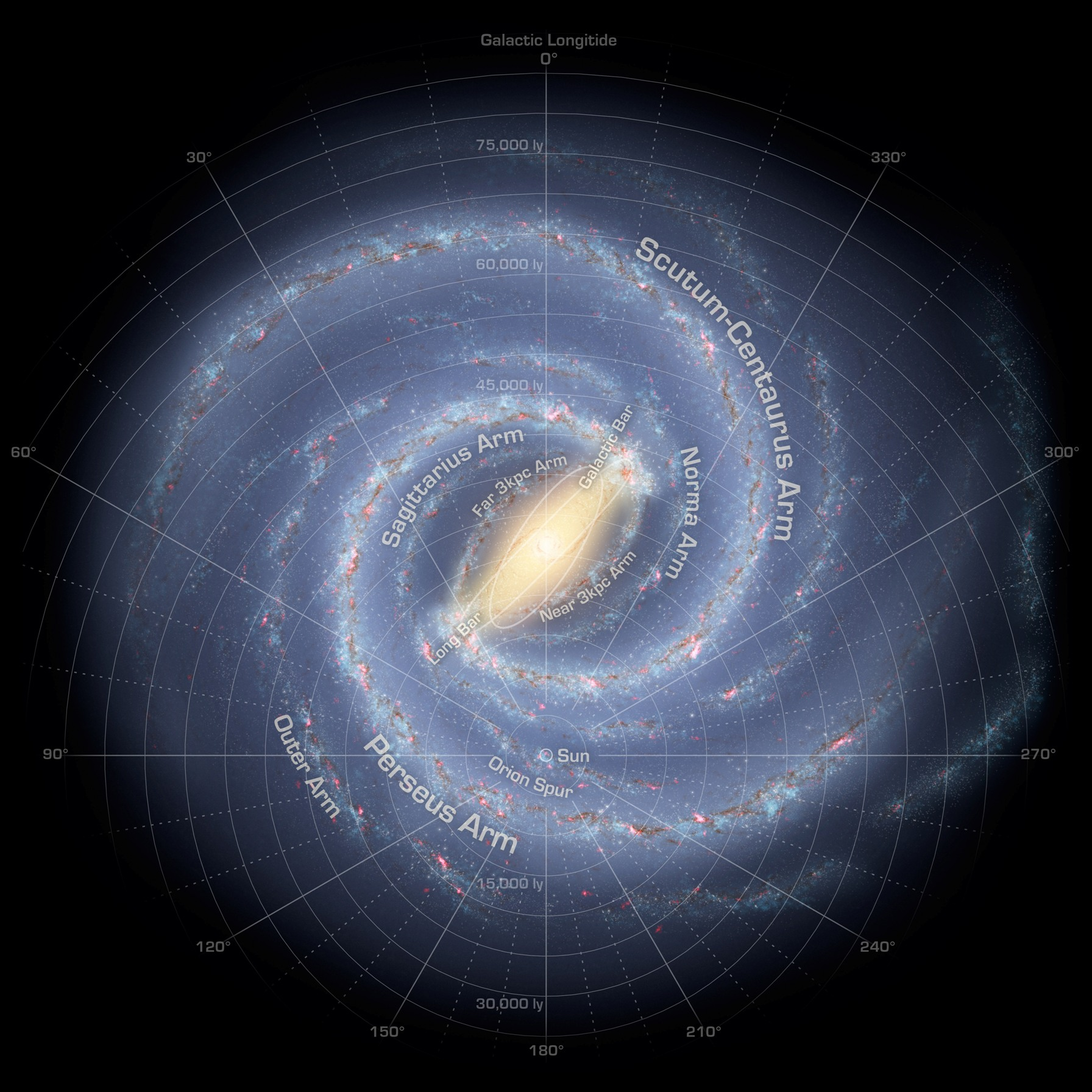 The Milky Way galaxy's spiral arms