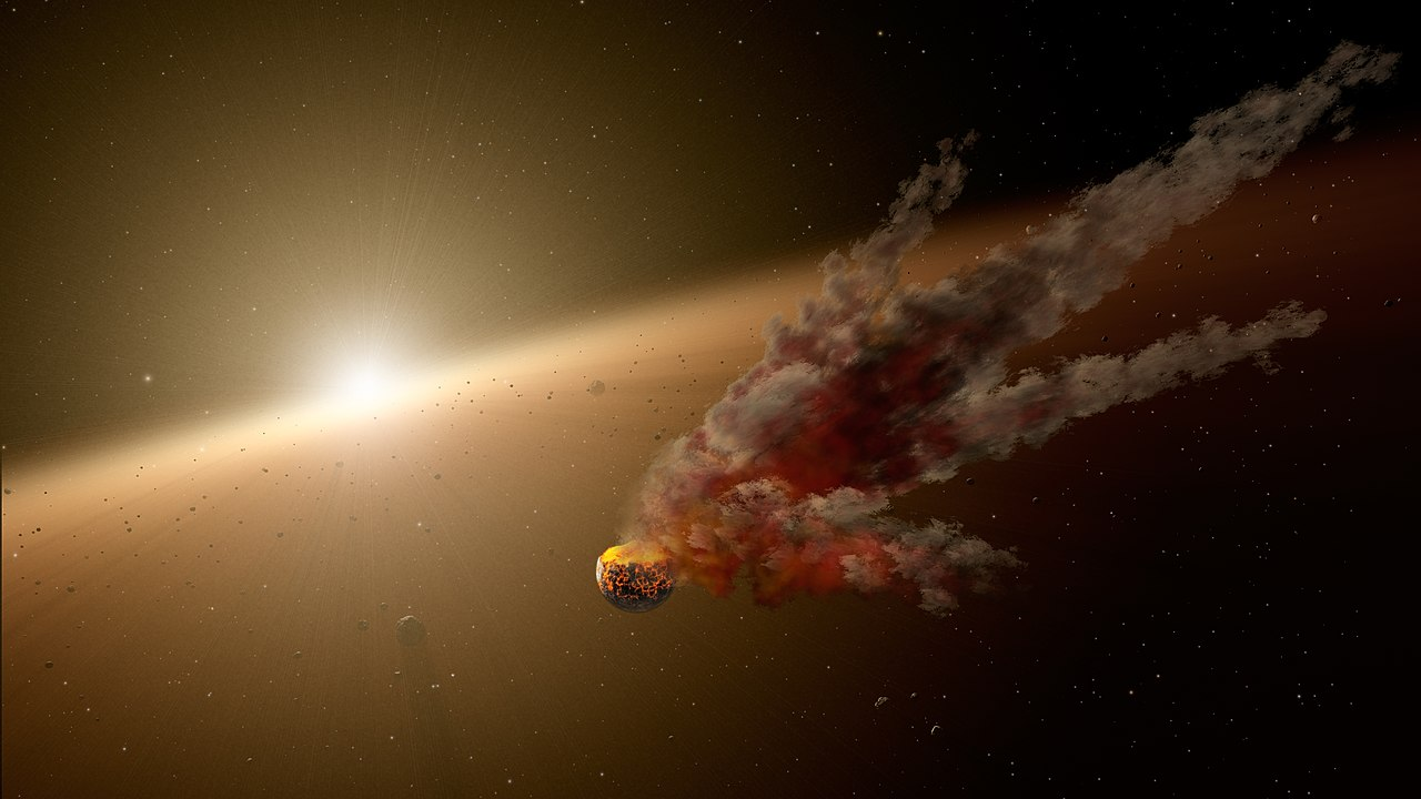 artist's concept of aftermath of a collision around NGC 2547-ID8
