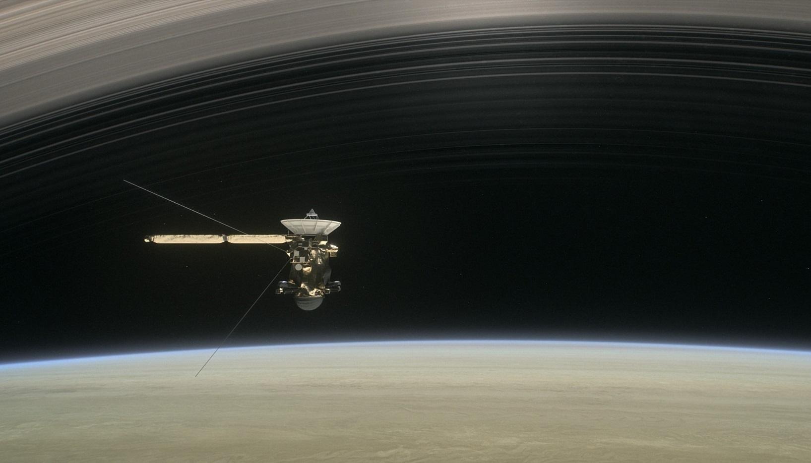 artist's concept of Cassini passing inside Saturn's rings