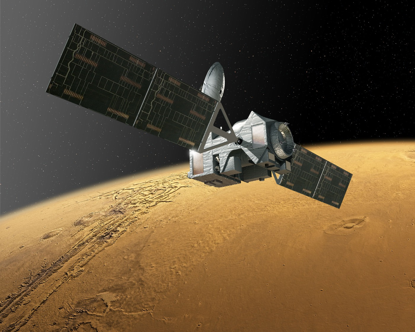 Artist's concept of Trace Gas Orbiter at Mars