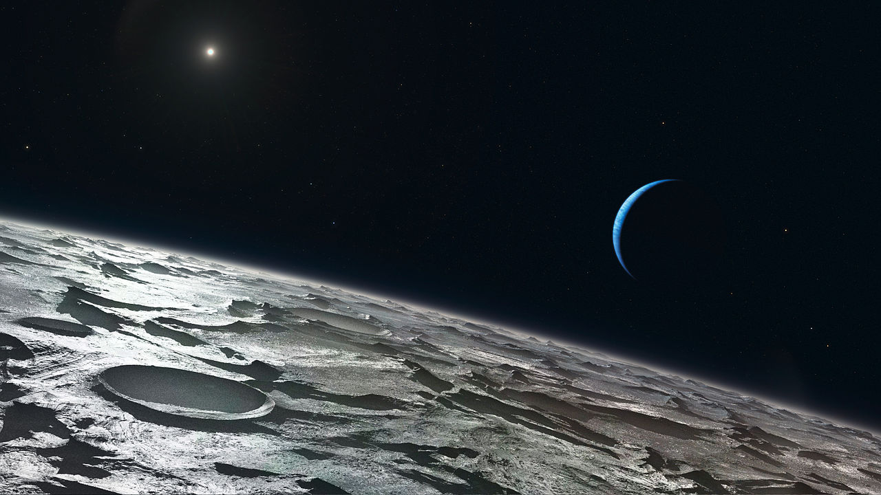 artist's concept of the craggy surface of triton, with a thin crescent neptune in the sky