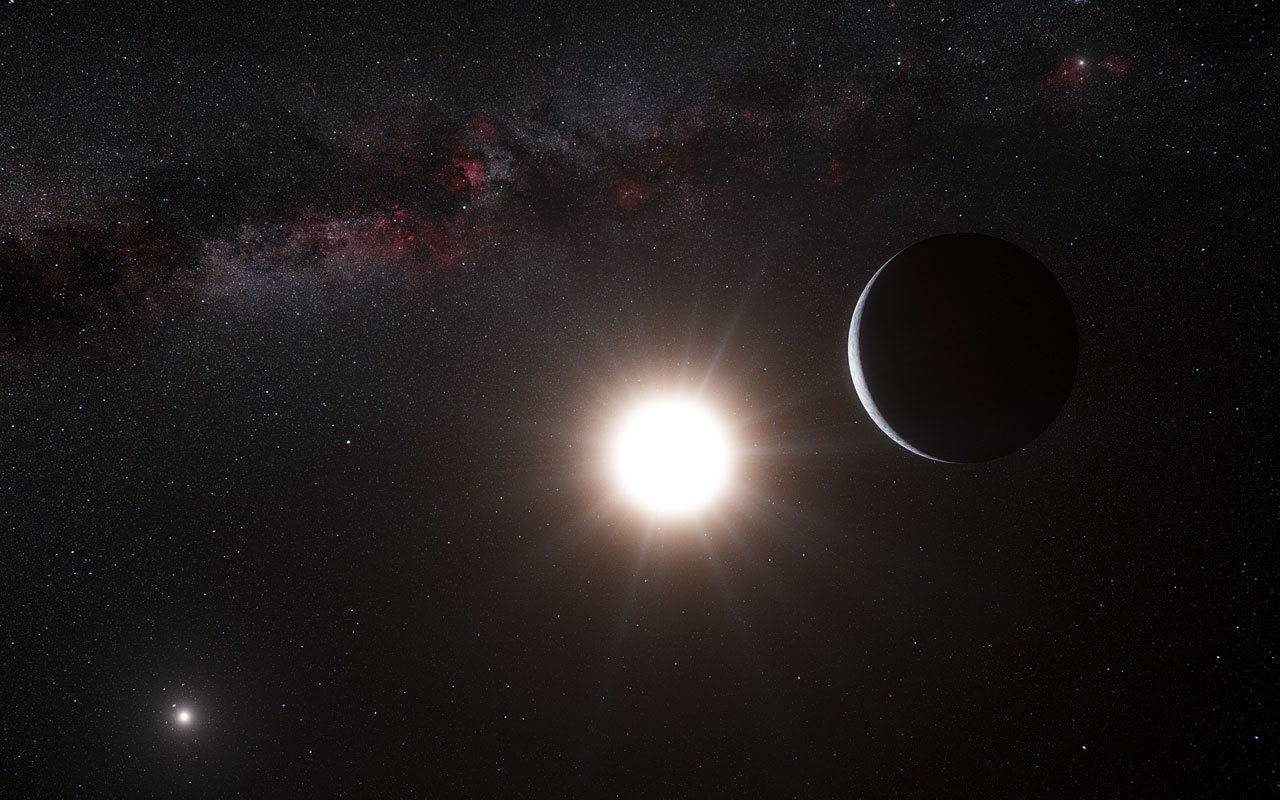 Artist's concept of Alpha Centauri A and B, plus a planet