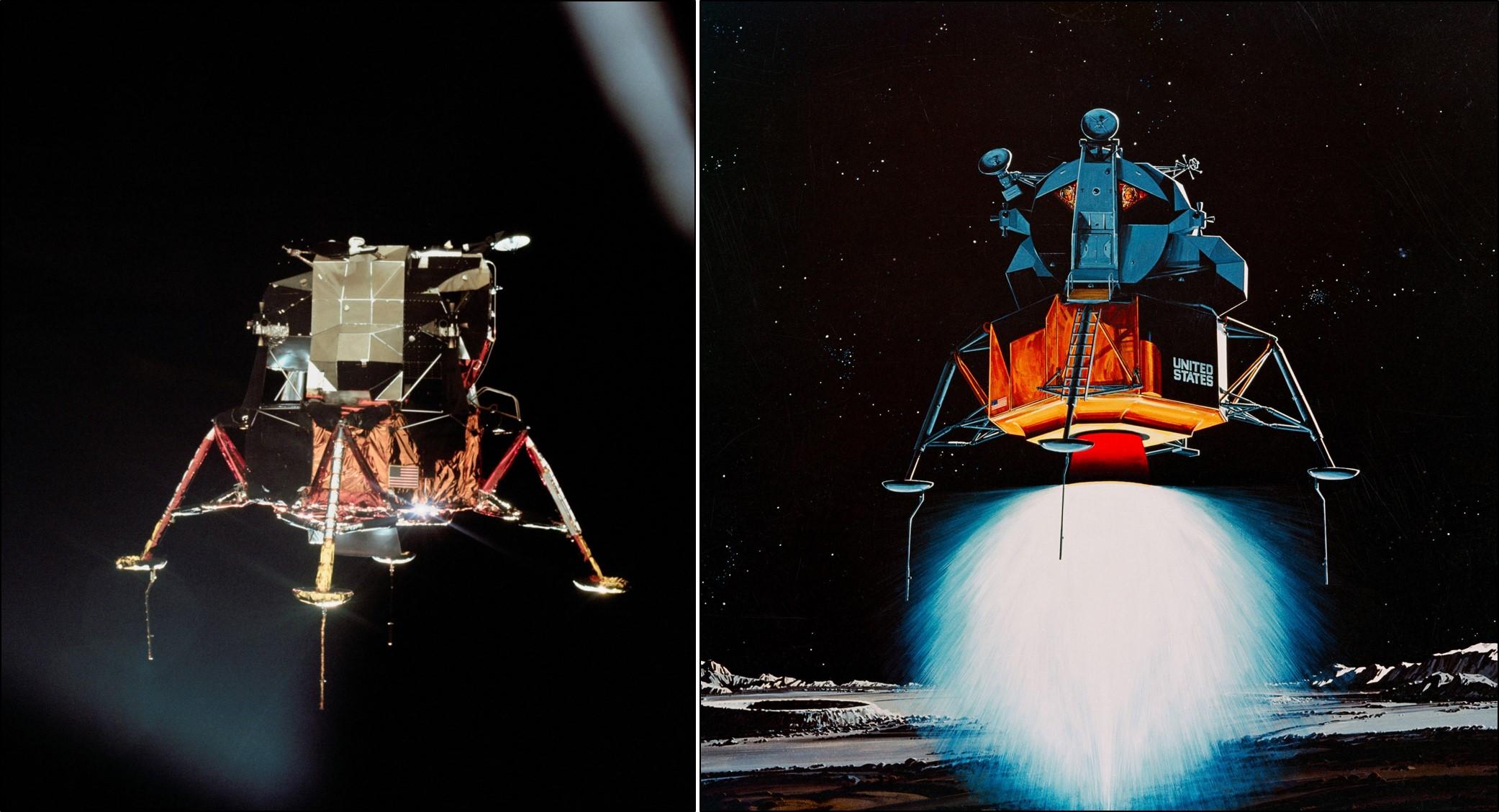 Apollo 11's lunar module lands on the Moon