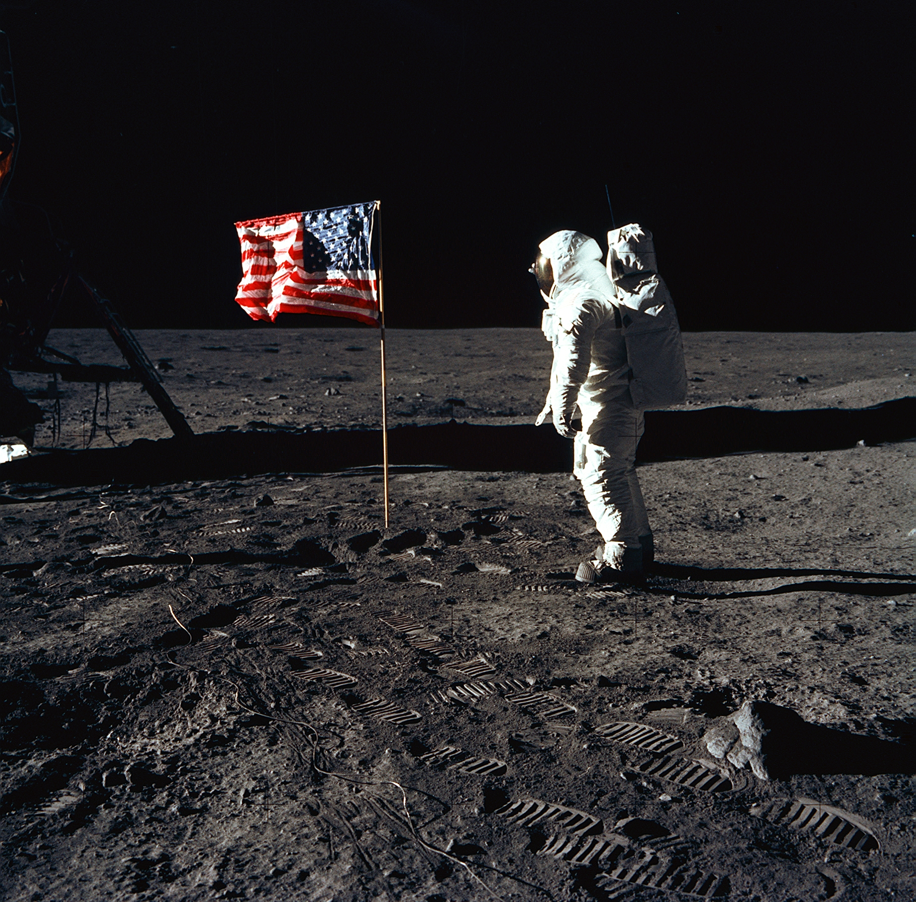 Buzz Aldrin poses with the American flag on the Moon, July 20, 1969