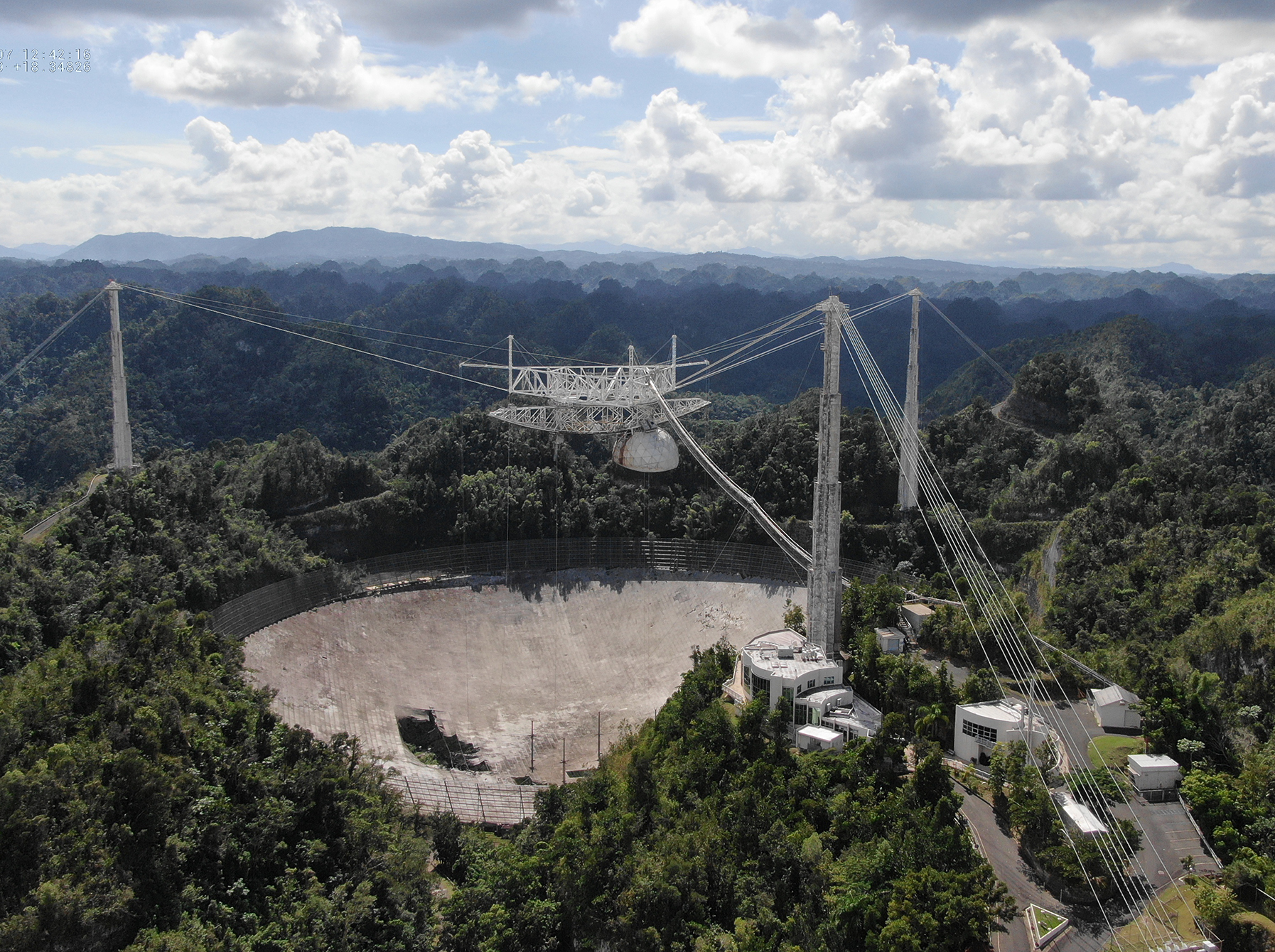 The damaged Arecibo Telescope