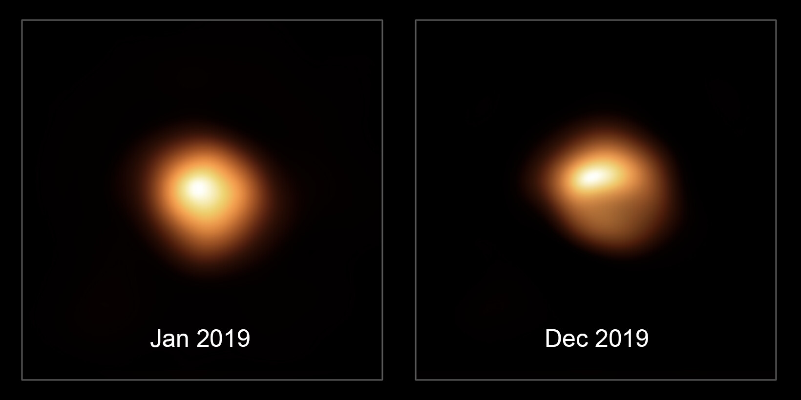 Images of Betelgeuse before and after it began fading