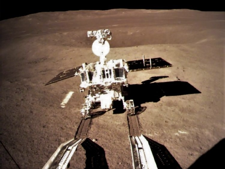 Yutu, a small rover, rolls away from Chang'e 4