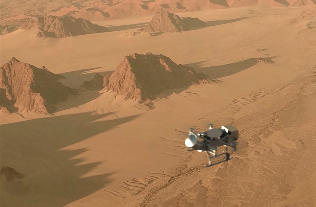 An artist's concept shows the Dragonfly drone above Titan