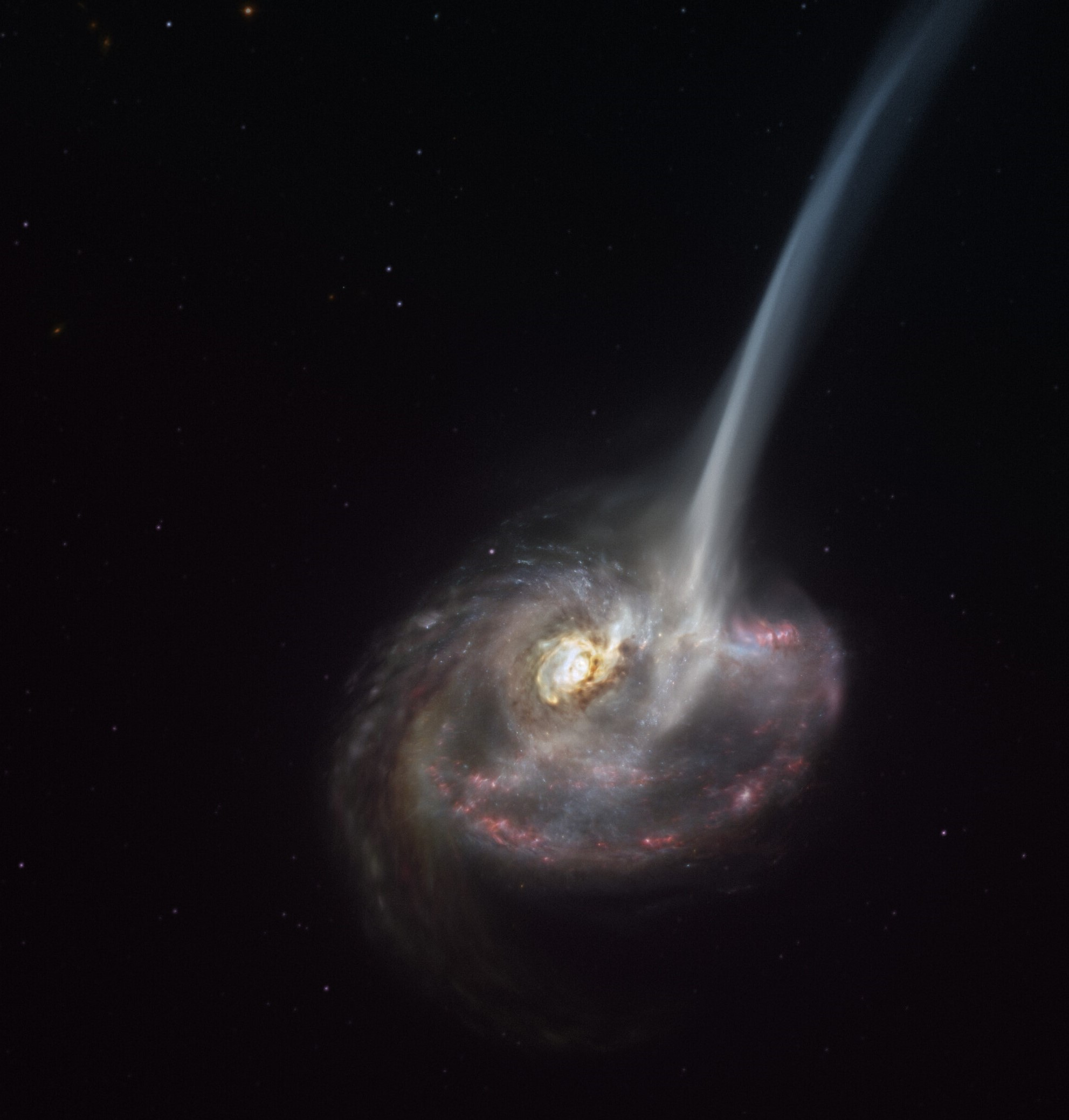 artist's concept of ID2299, a galaxy that is losing much of its gas