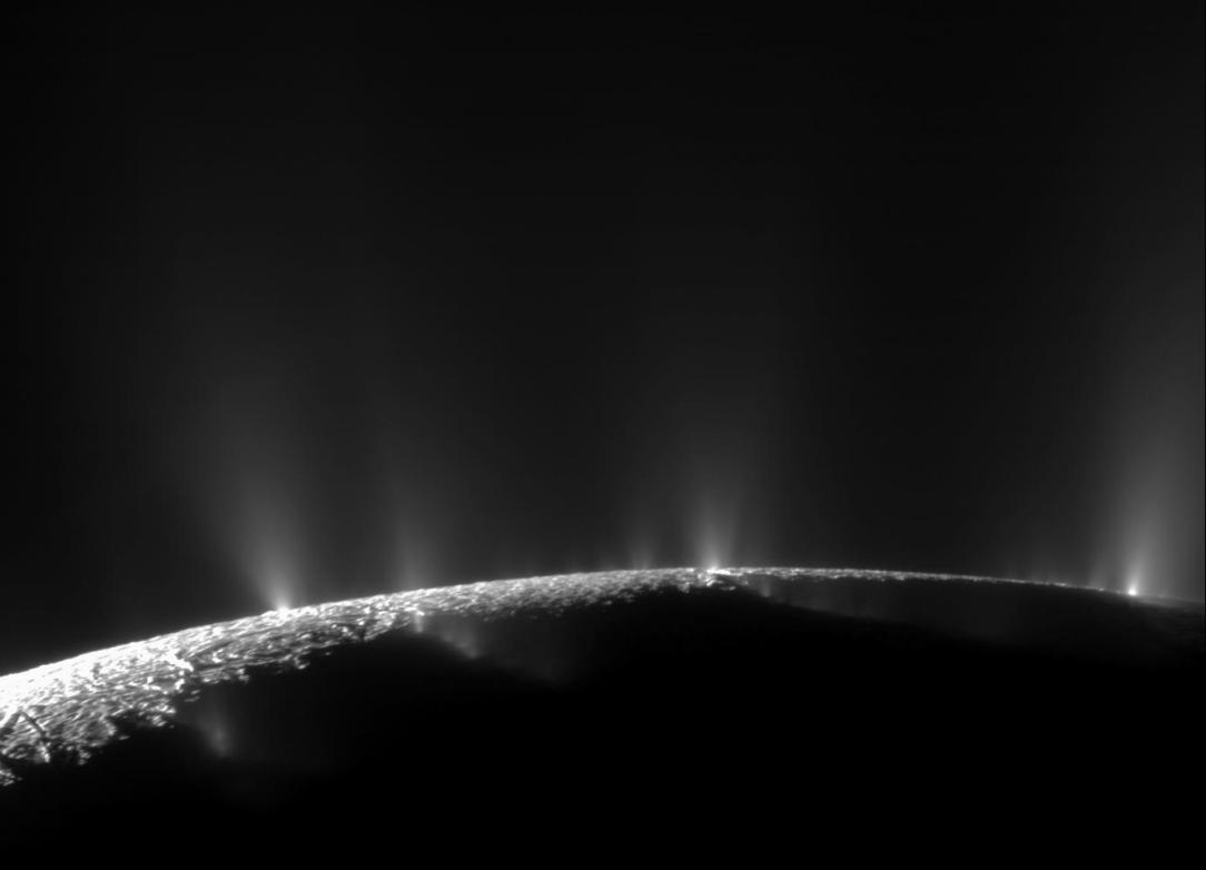 Plumes of ice and water shoot into space from Enceladus, a moon of Saturn