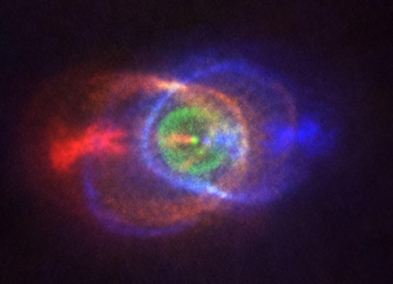 a nebula surrounds a dying star