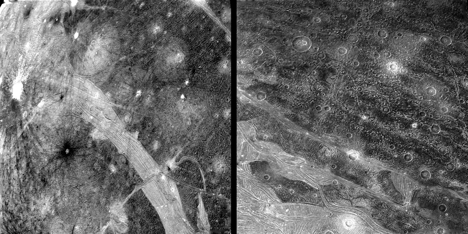 Voyager 2 views of the surface of the Jovian moon Ganymede