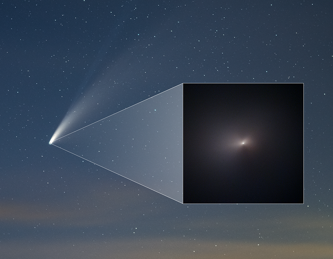 Wide-angle and close-up views of Comet NeoWISE