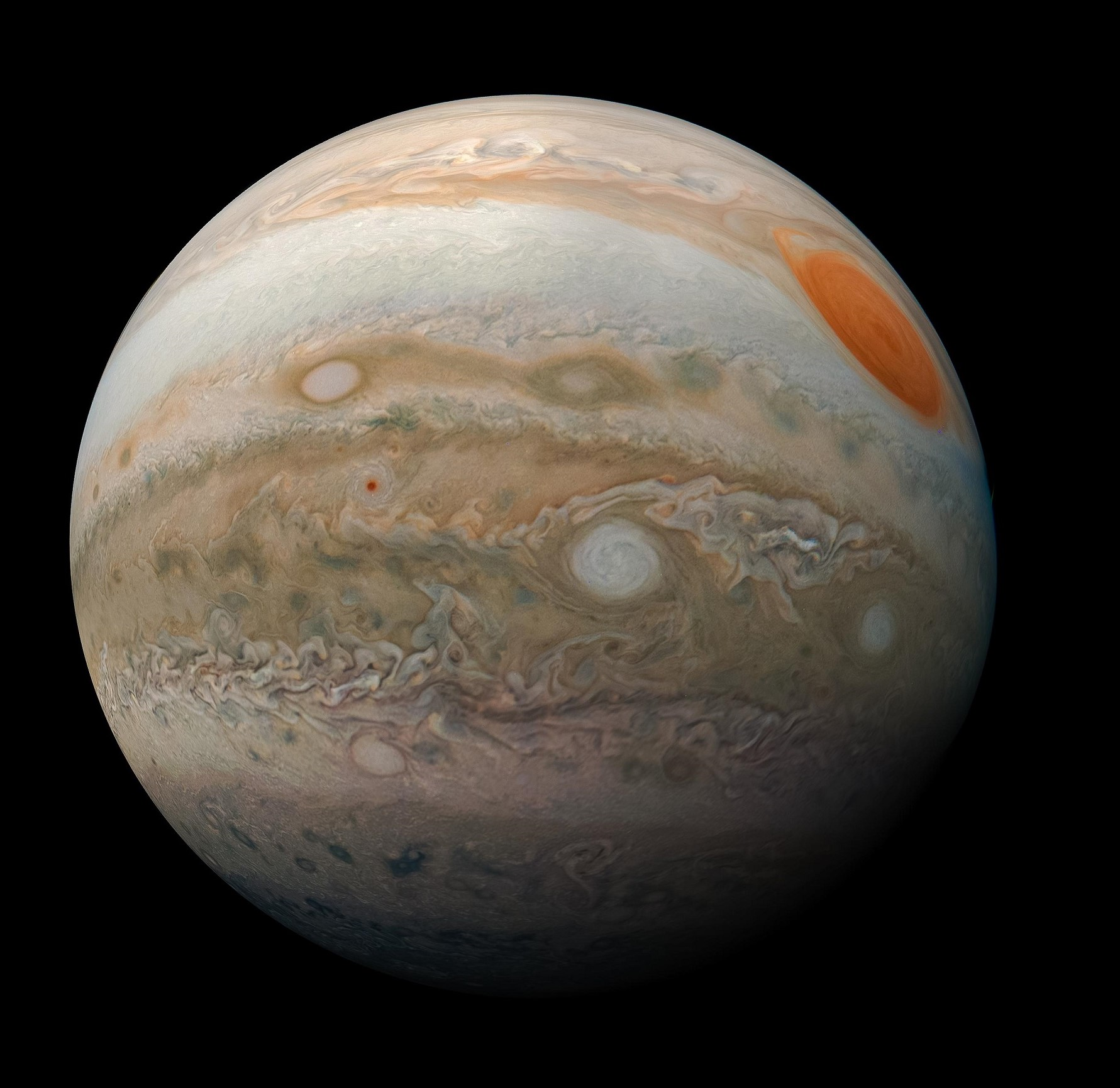 View of Jupiter's southern hemisphere from June, February 2019