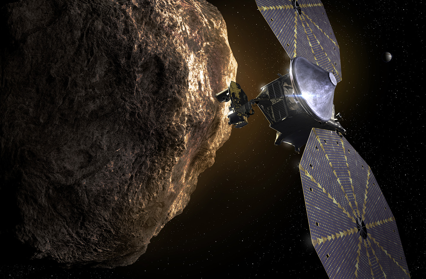 the lucy spacecraft passes a trojan asteroid