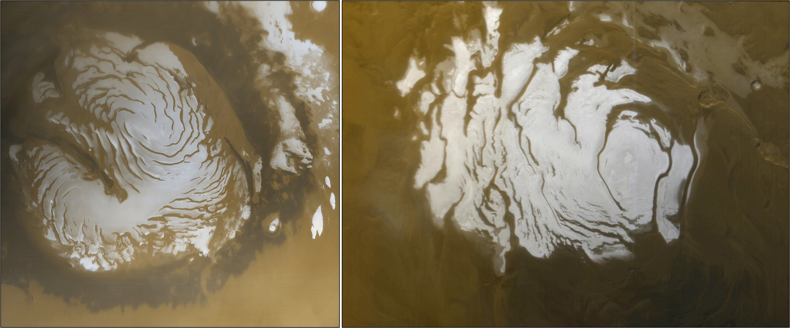 View of the north and south poles of Mars