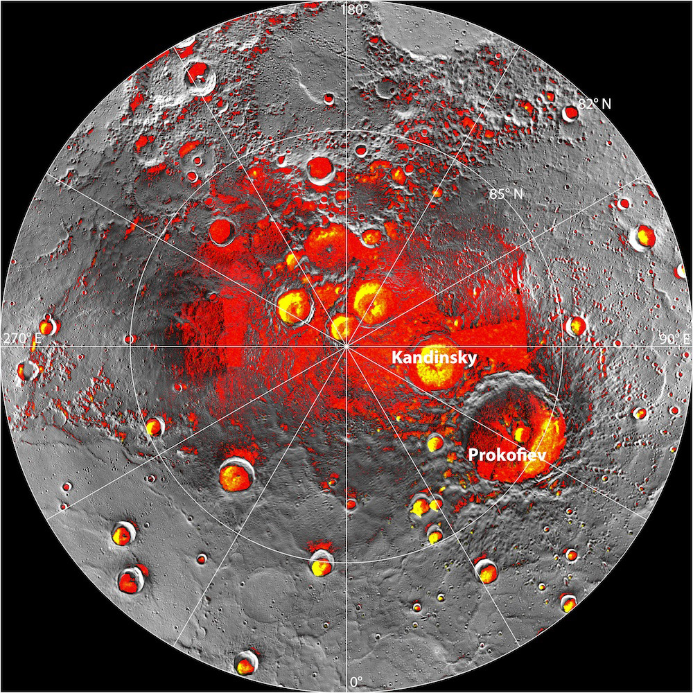 Composite image showing sites of possible ice deposits on Mercury