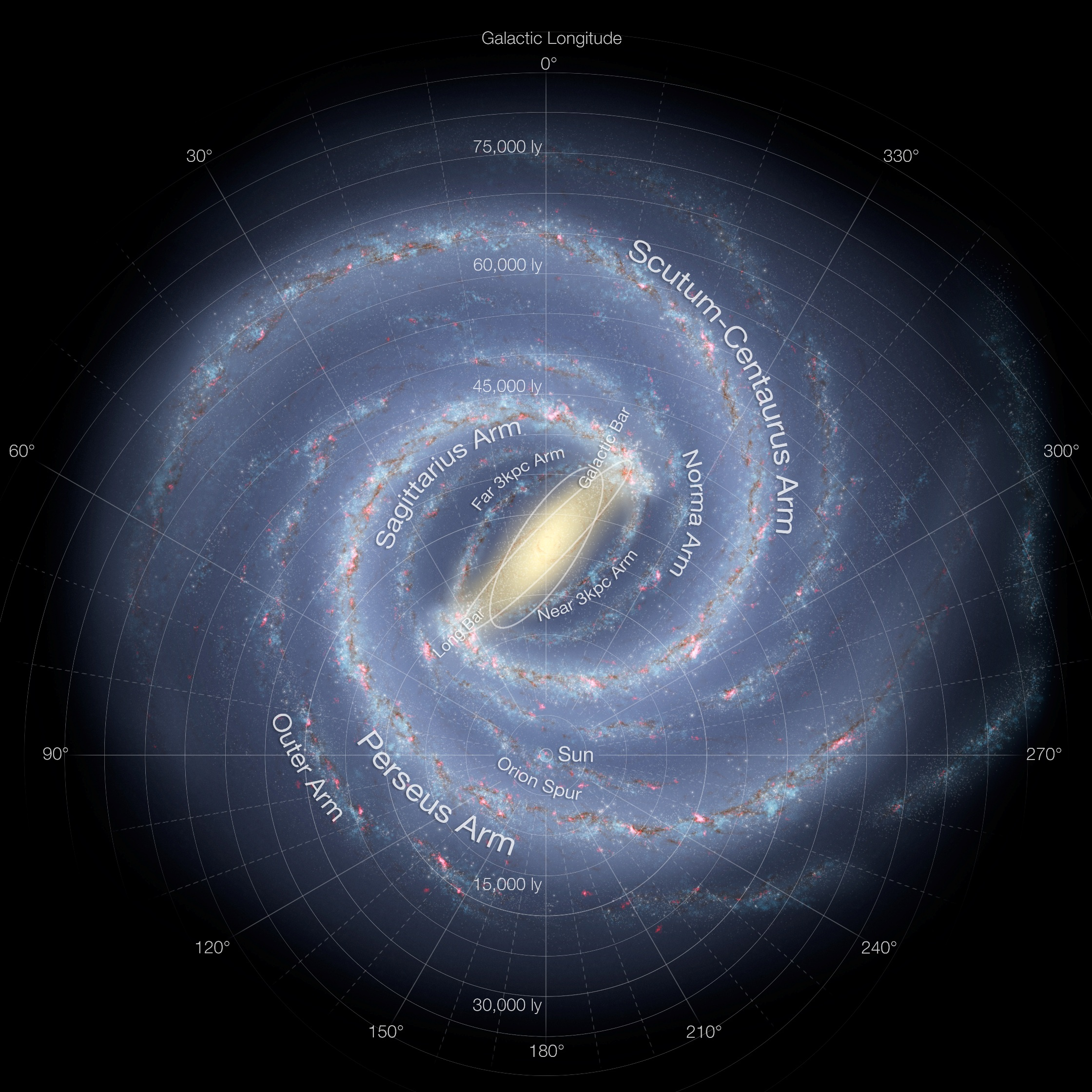 Labeled structure of the Milky Way galaxy