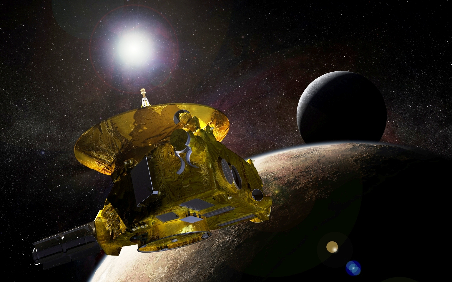 Artist's concept of New Horizons passing by Pluto