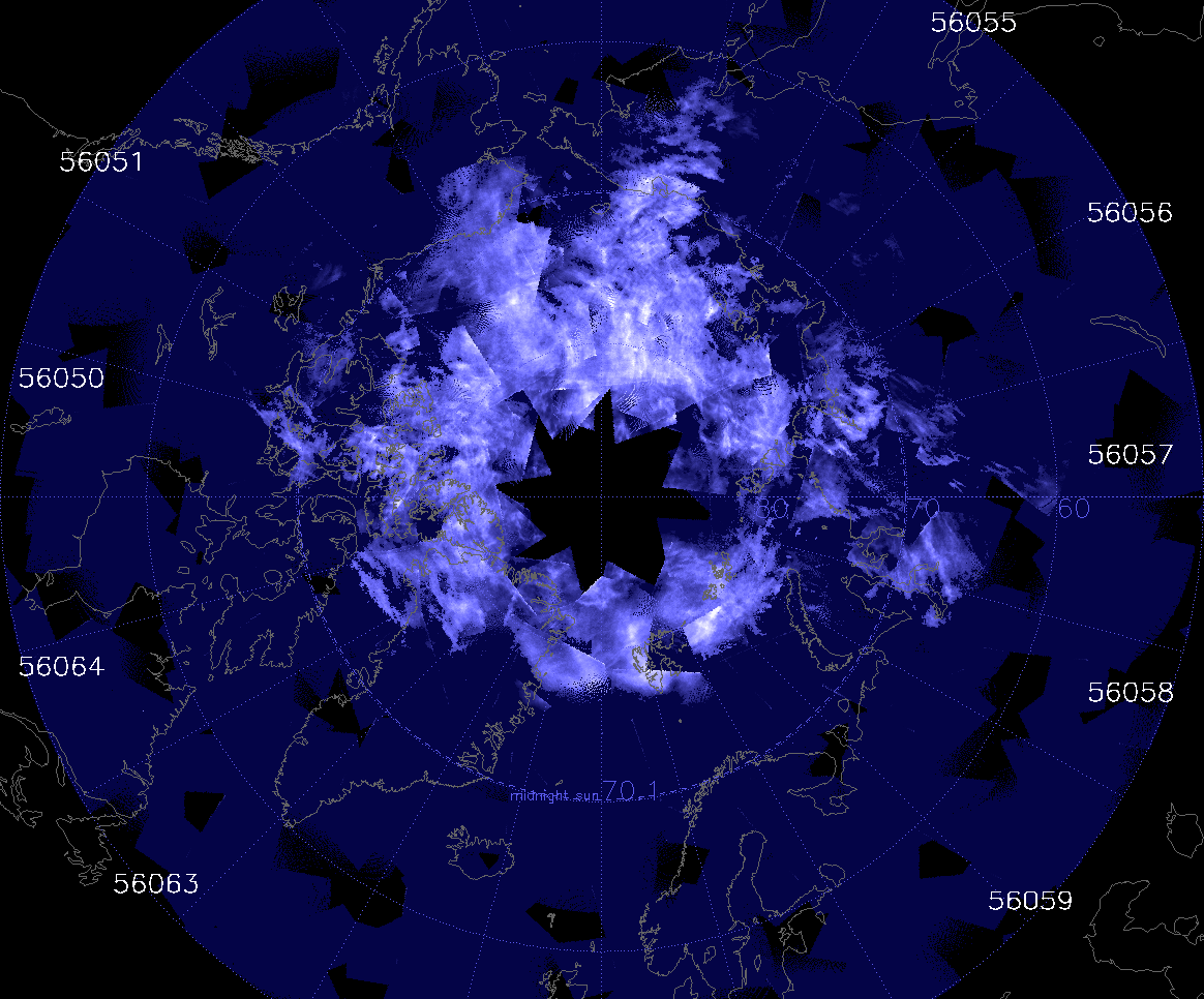 Noctilucent clouds over the north pole