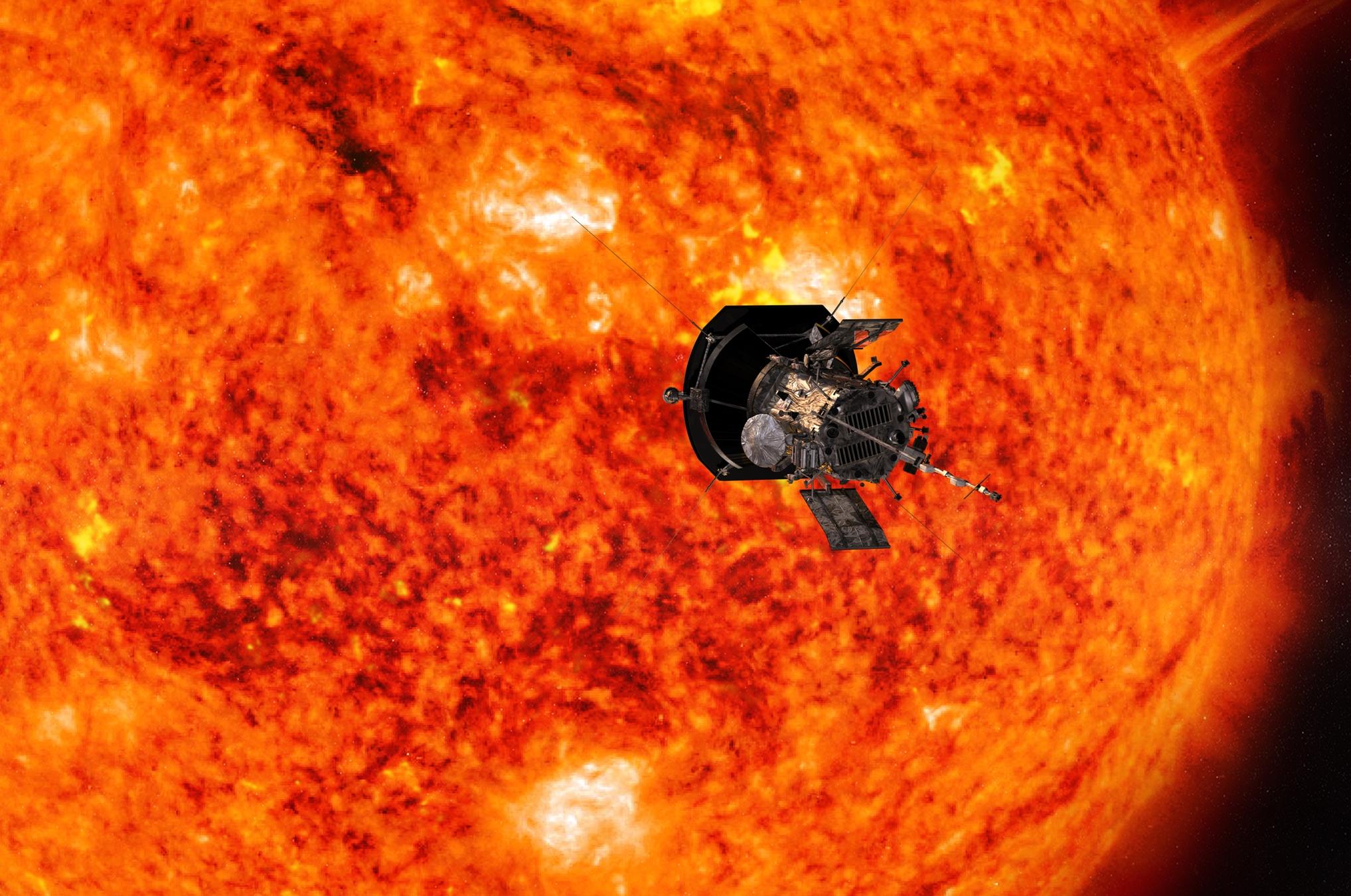 Artist's concept of Parker Solar Probe observing the Sun