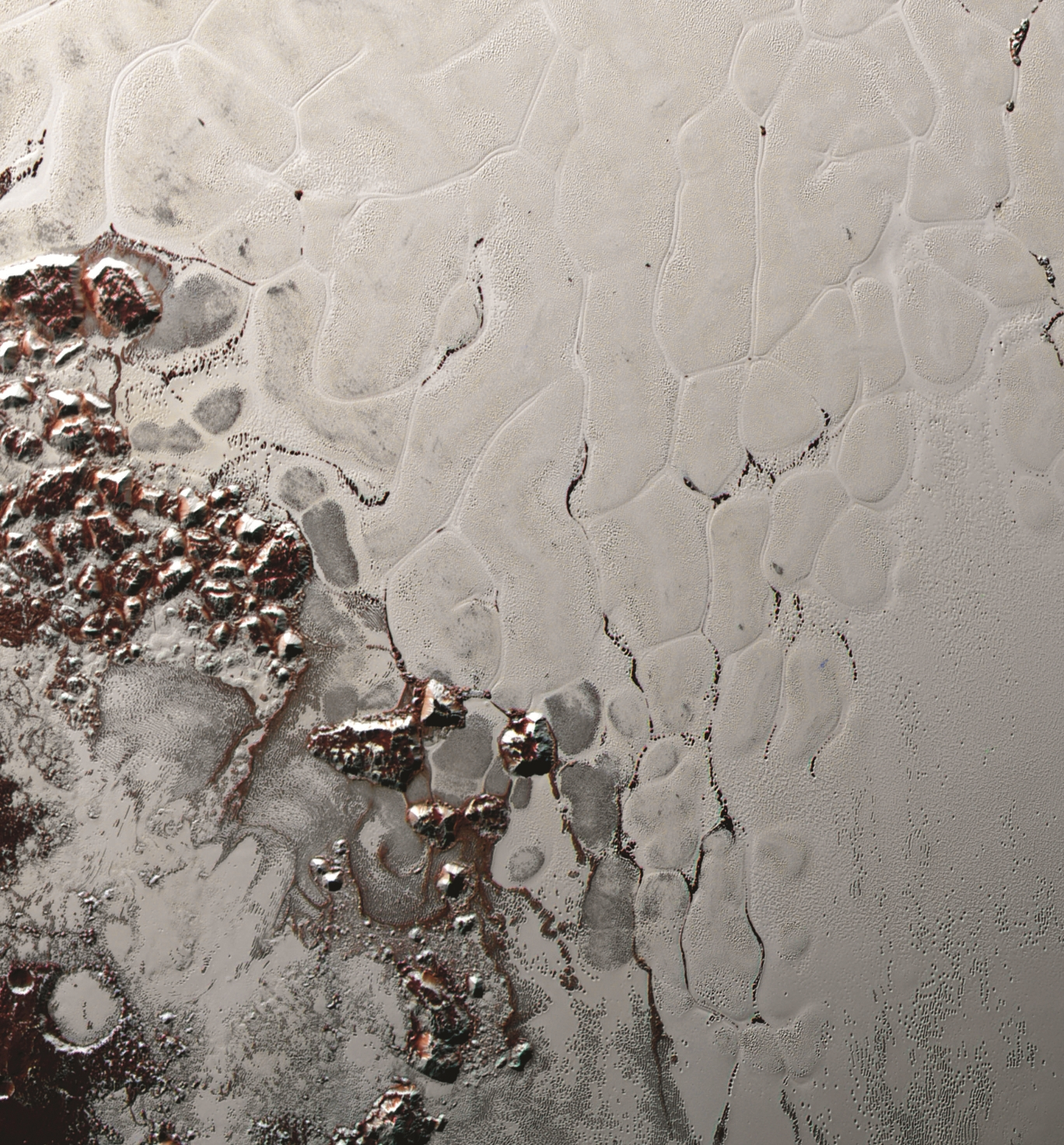 View of ice field on Pluto from New Horizons
