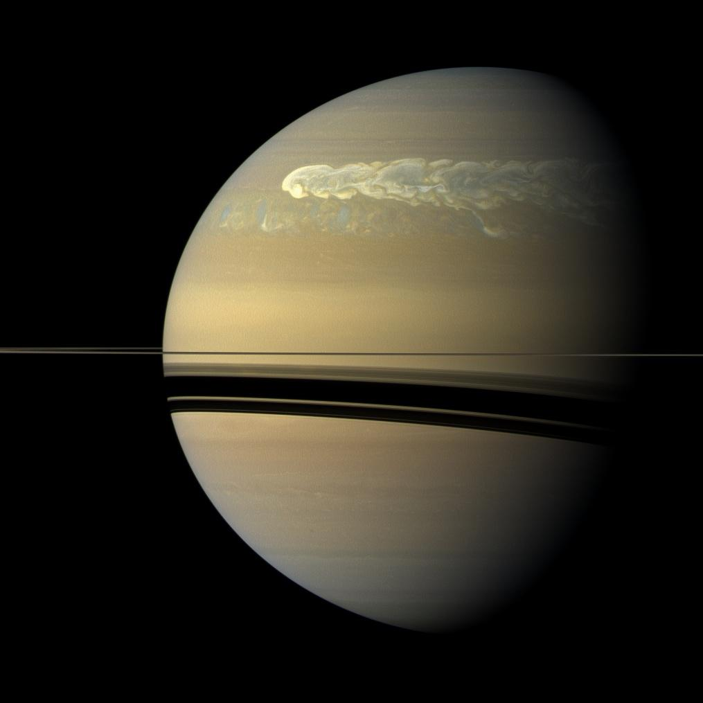 Cassini view of a giant storm in Saturn's northern hemisphere