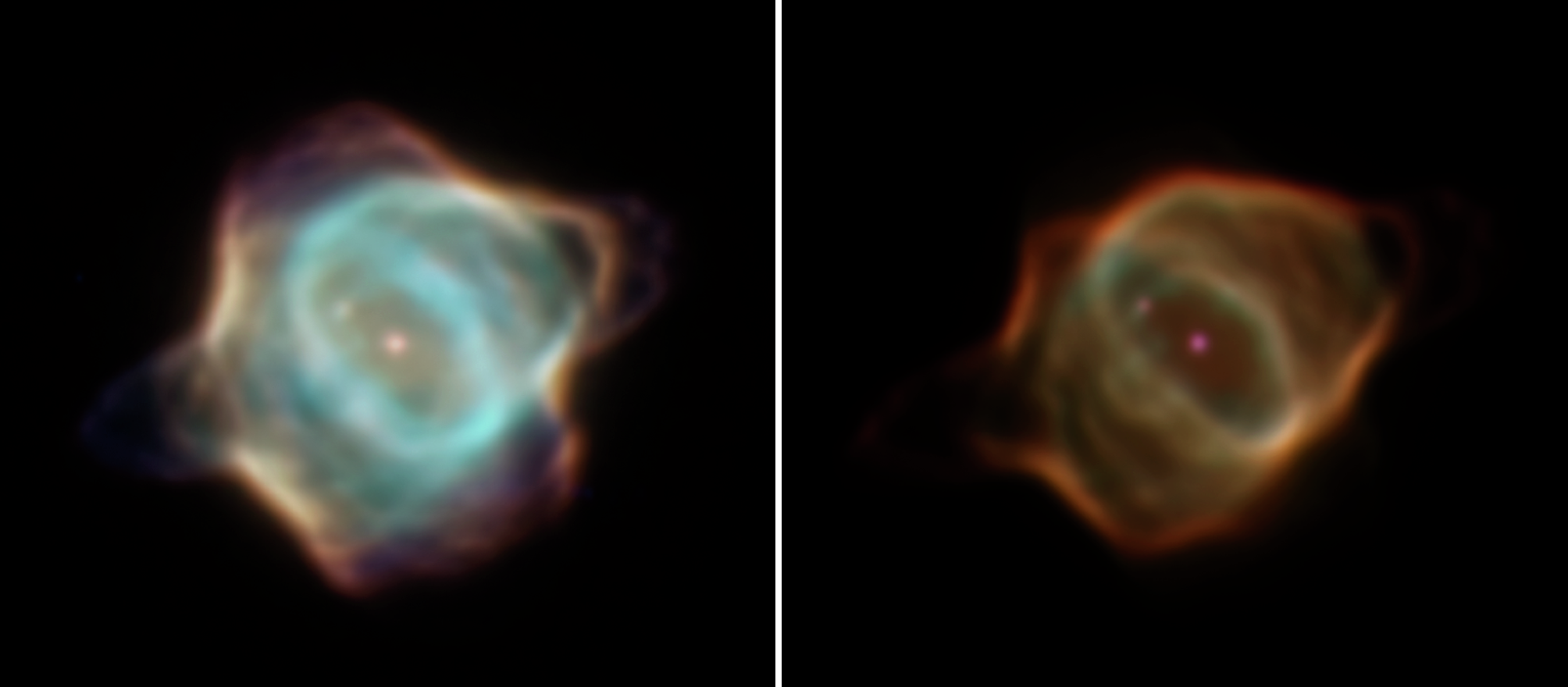 Hubble Space Telescope images of the Stingray Nebula taken 20 years apart