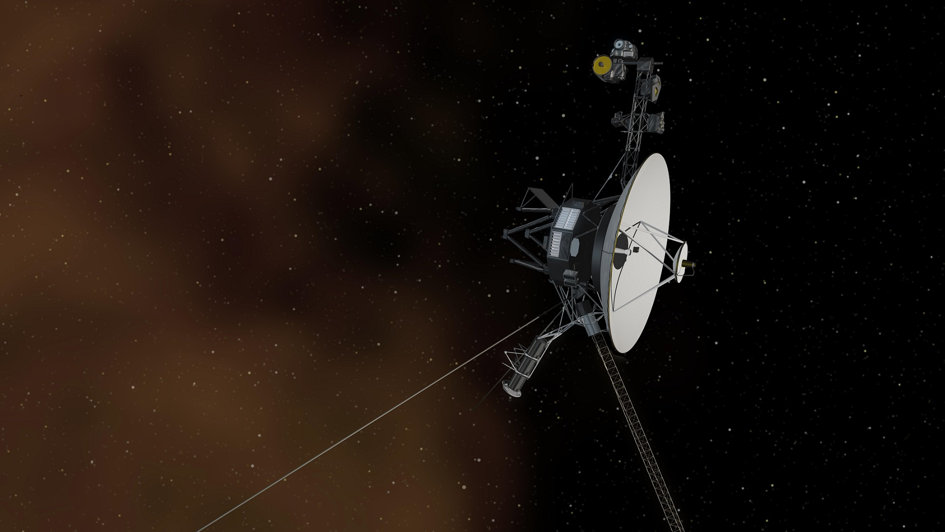 artist's view of voyager spacecraft in interstellar space