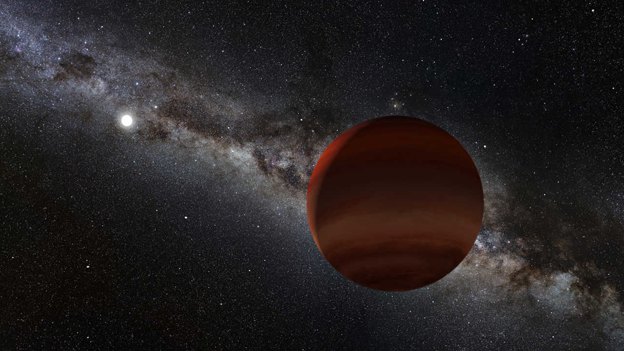 artist's concept of a system with a white dwarf and a brown dwarf
