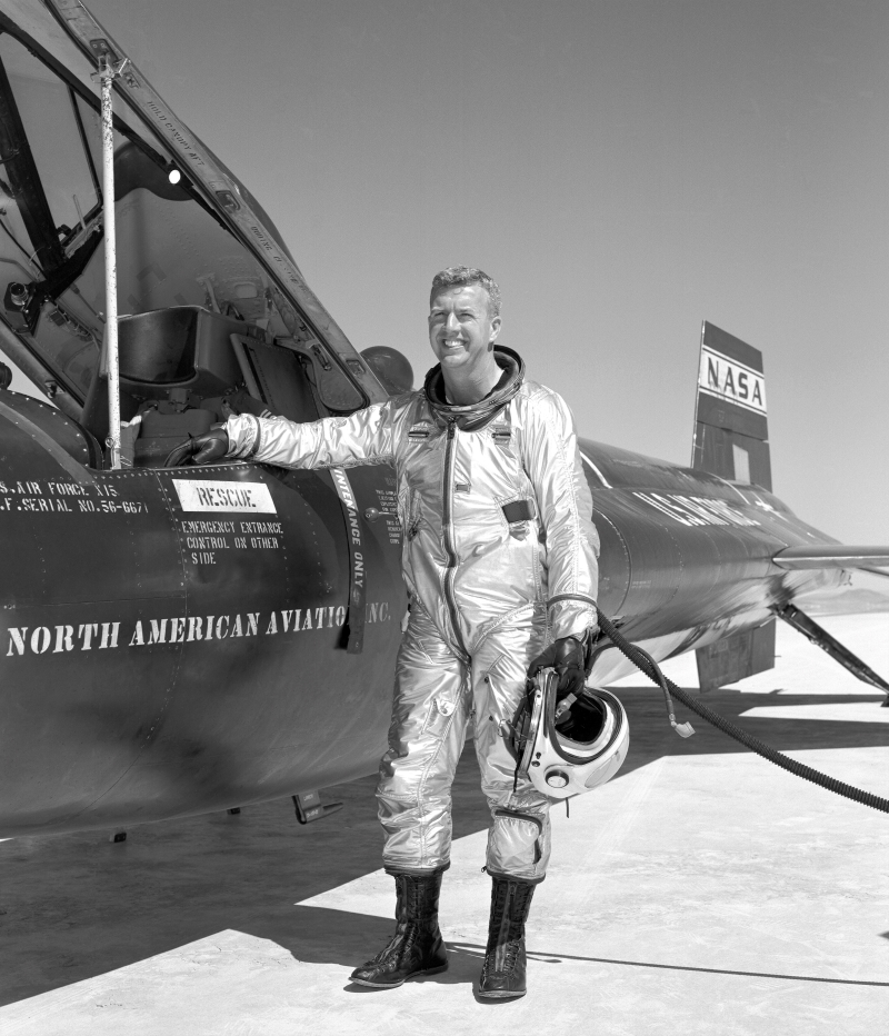 Joseph Walker poses with the X-15