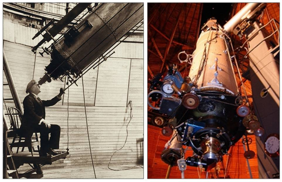 Percival Lowell using the telescope in 1914 (left), and a more modern view