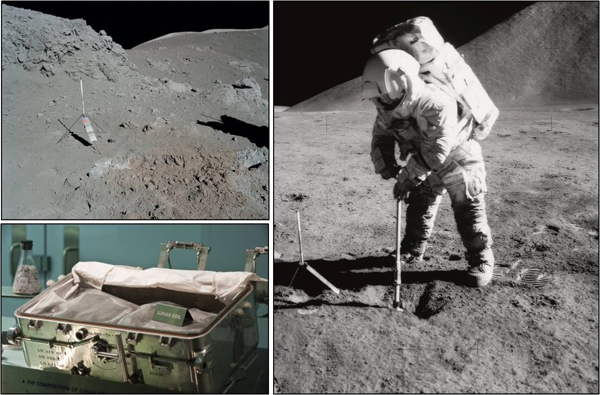 Clockwise from top left: Orange soil found by Apollo 17 astronauts; Apollo 15 astronaut Jim Irwin scoops up soil; a soil container in the lab