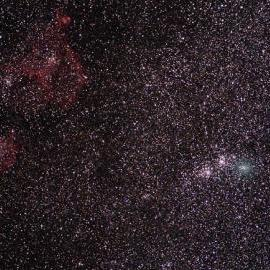 Comet Hartley 2 (green, right center) as seen from near McDonald Observatory on October 8, 2010. On this date, the comet appeared to the right of the Perseus Double Cluster.