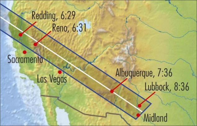 This map shows the path of 'annularity,' with maximum eclipse (p.m., local time) for sites along the path. Areas outside the path of annularity will see a partial eclipse.