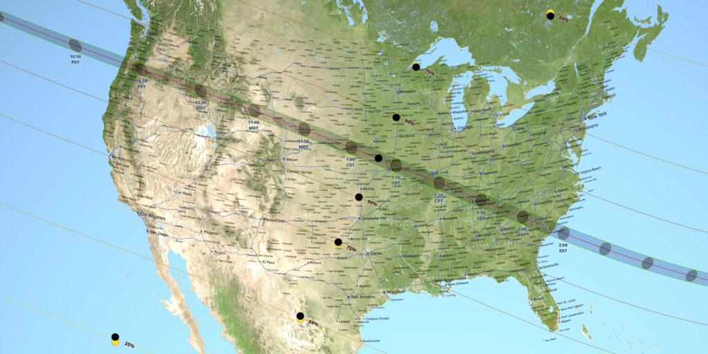 This map shows the path of the eclipse across the United States. [NASA/Scientific Visualization Studio]