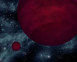 Artist's concept of a planet (left) orbiting a brown dwarf