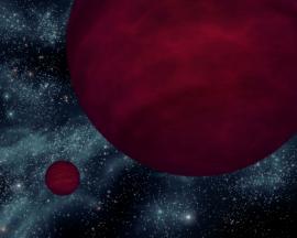 Artist's concept of a planet (left) orbiting a brown dwarf