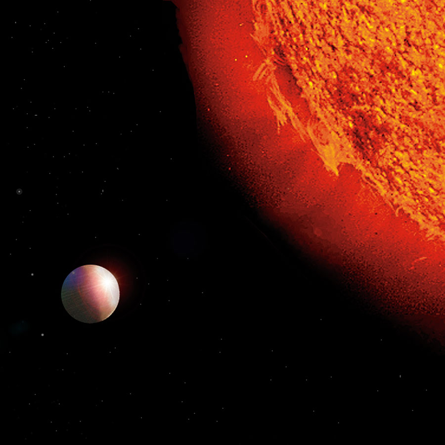 Artist's concept of a possible Neptune-mass planet orbiting Rho 1 Cancri.