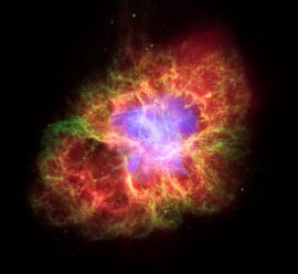 Multi-wavelength view of the Crab Nebula, the remnant of a supernova seen in Earth's skies in 1054