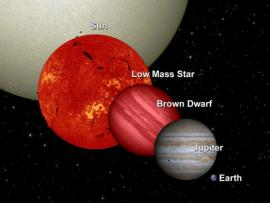 Dwarfs compared to the size of the Sun and Jupiter