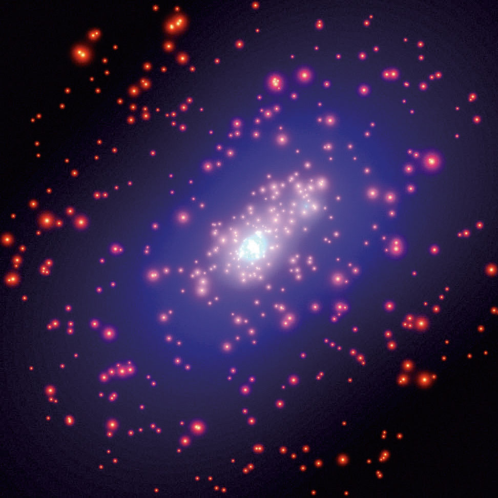 In galaxy cluster CL0024+1654, each yellow dot is a galaxy.
