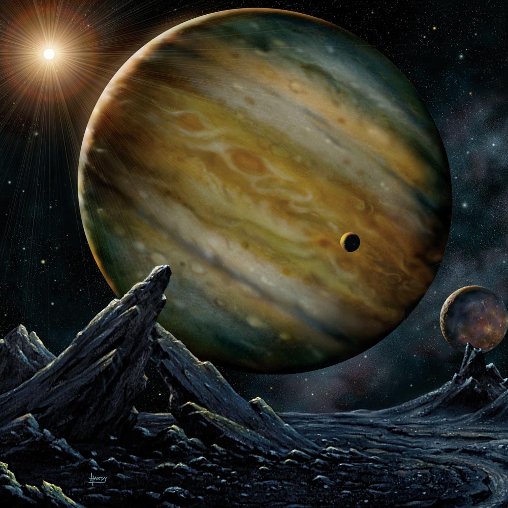 An artist's concept of a giant planet orbiting a star other than the Sun.